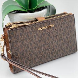 Michael Kors Double Zip Wallet Wristlet Brown